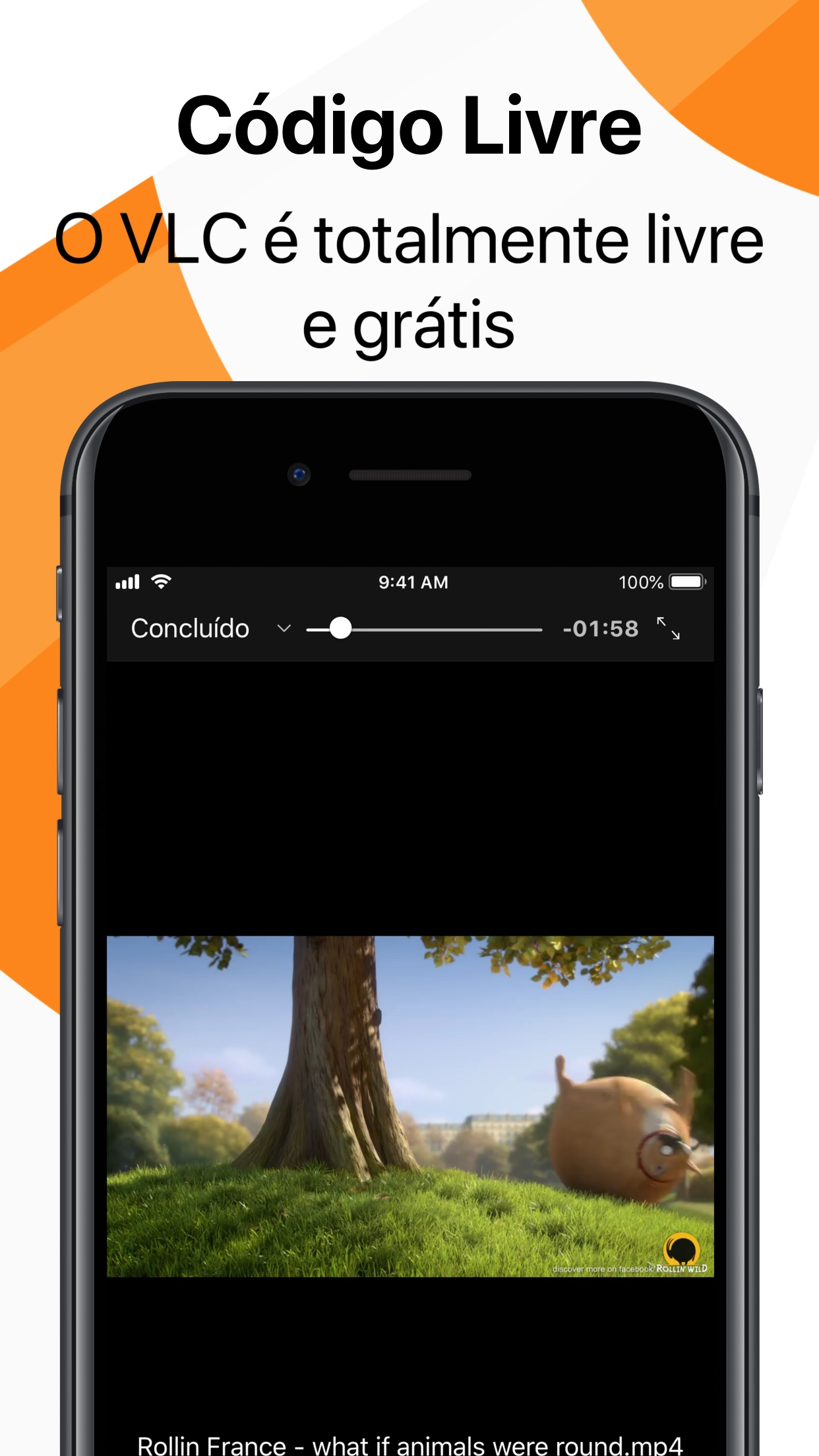 Screenshot do app VLC for Mobile