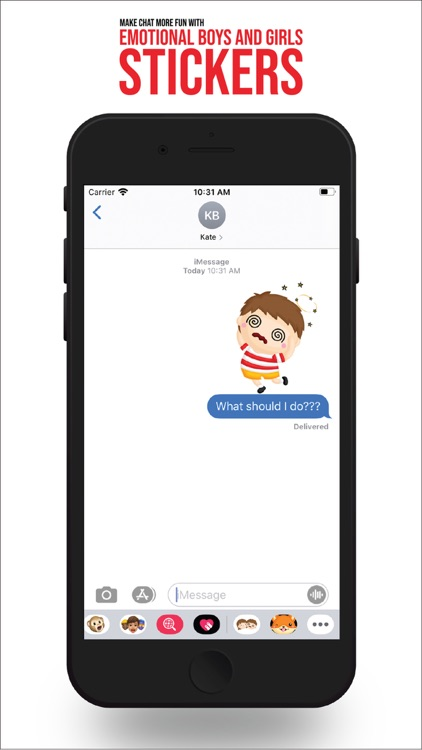 Boy and Girl Emotions Stickers