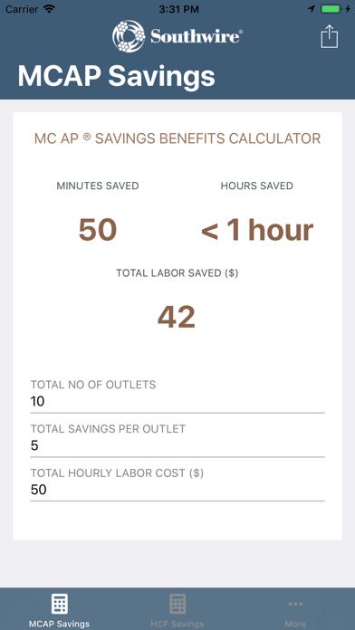 Southwire® MCAP® Savings Calc screenshot one