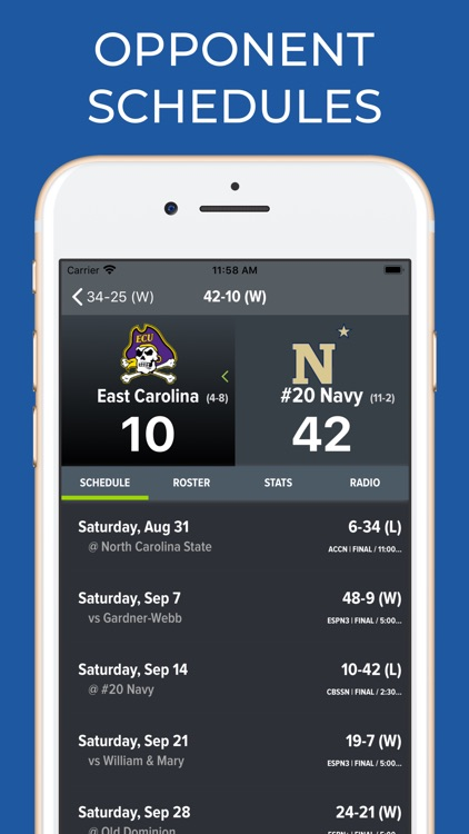 Navy Football Schedules screenshot-7