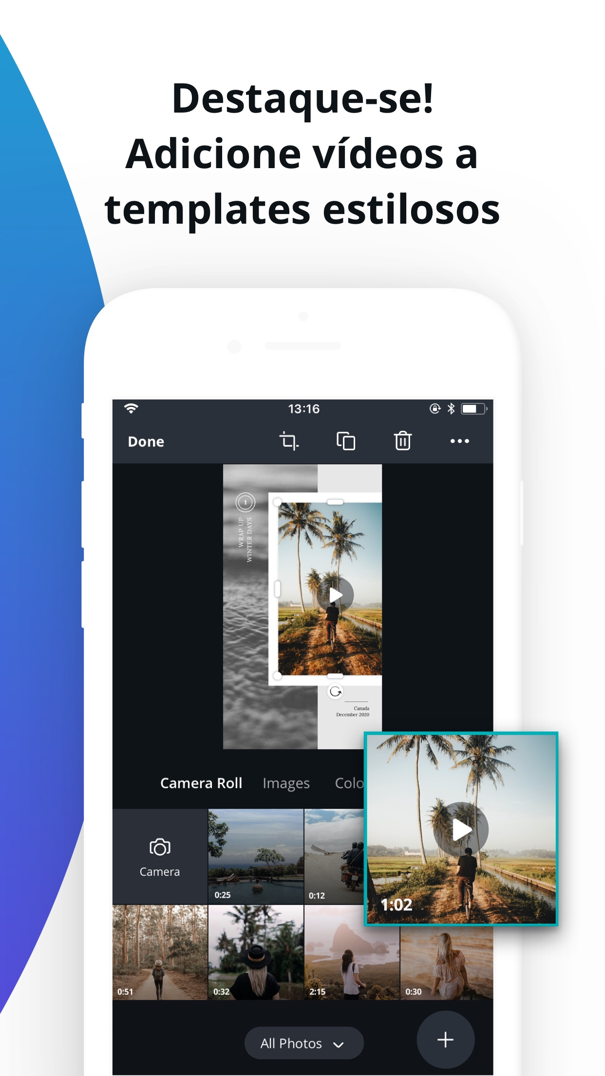 Screenshot do app Canva: Editor de Vídeo e Fotos