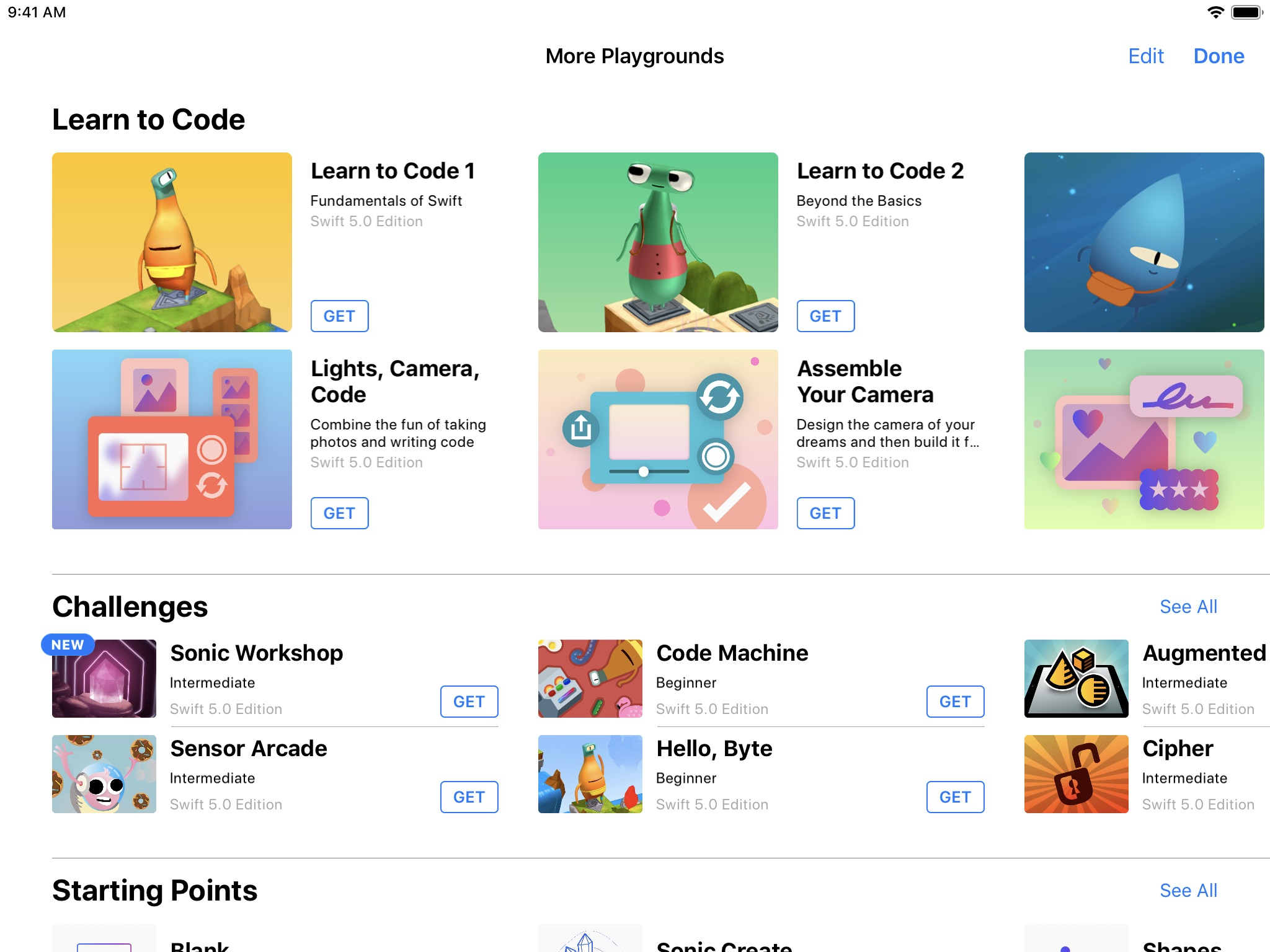 Screenshot do app Swift Playgrounds