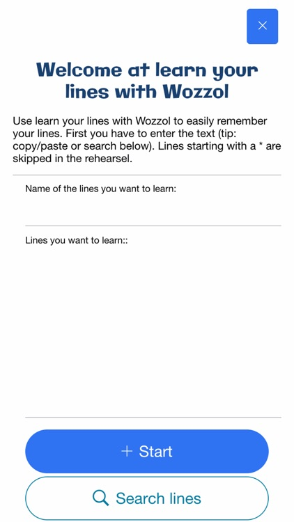 Learn your lines with Wozzol