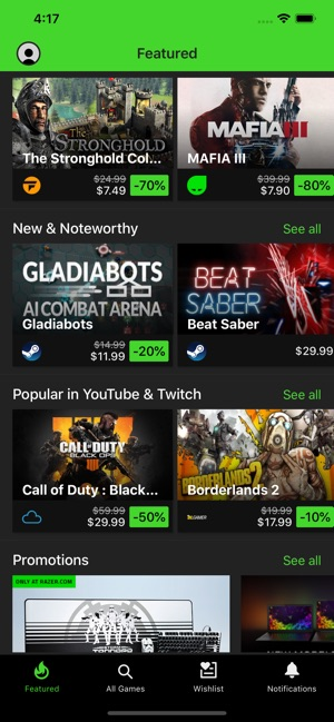 Razer Game Deals on the App Store