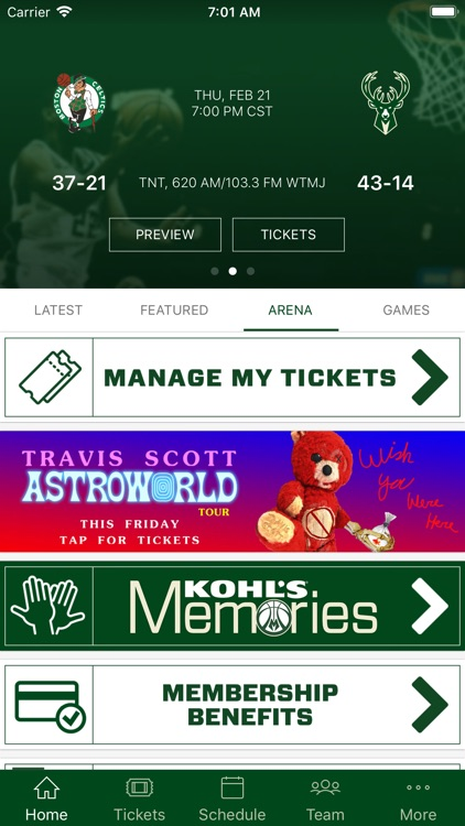 Bucks & Fiserv Forum App