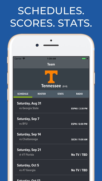 Tennessee Football Schedules