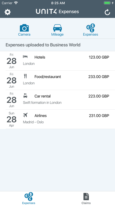Unit4 Expenses screenshot one