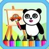 熊猫宝宝交通工具涂色和贴画 - 制作巴士和小汽车的动画