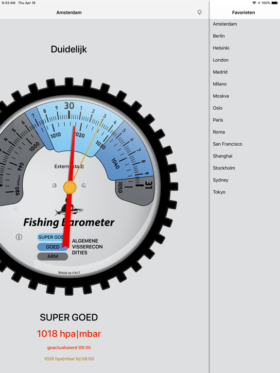 Vissen Barometer iPad app afbeelding 4