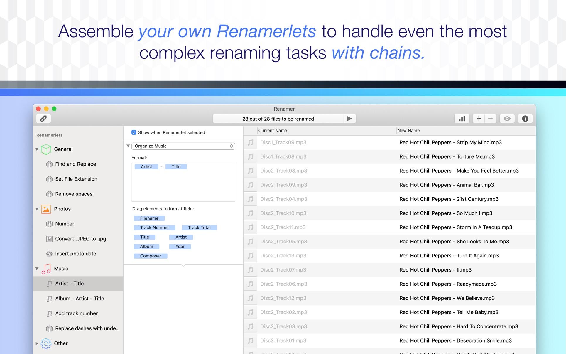 Renamer 6.0.6 Mac 破解版 Mac上好用的文件批量重命名工具