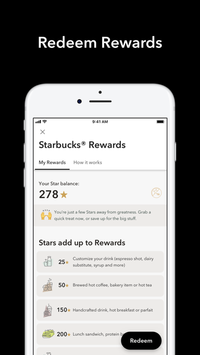 Starbucks review screenshots