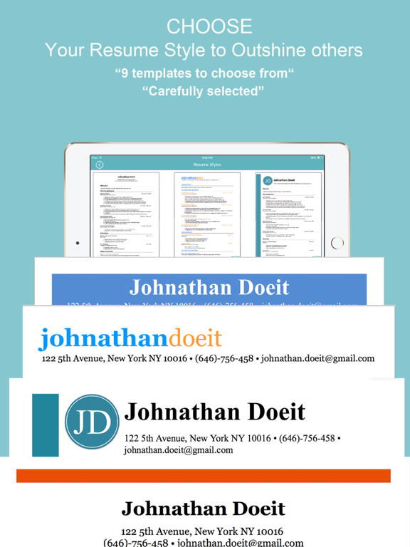 cv builder - curriculum vitae - app voor iphone  ipad en ipod touch