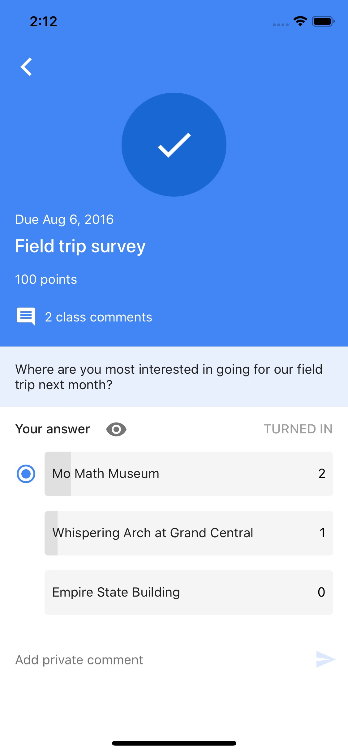 Screenshot do app Google Classroom