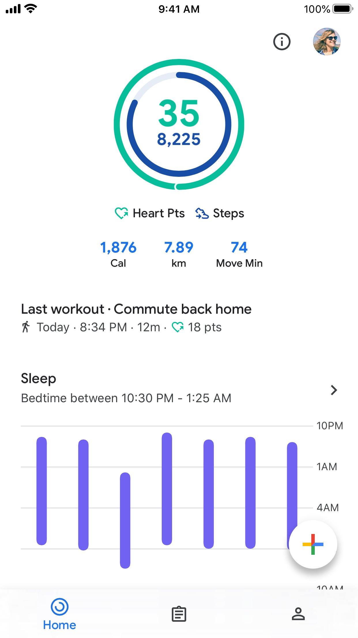 Screenshot do app Google Fit: monitor fitness