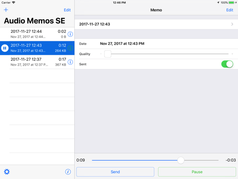 Screenshot of Audio Memos SE