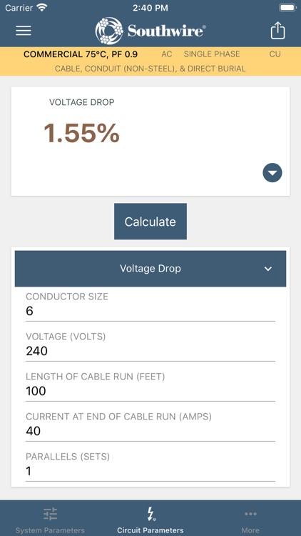 Southwire® Voltage Drop Calc screenshot-5