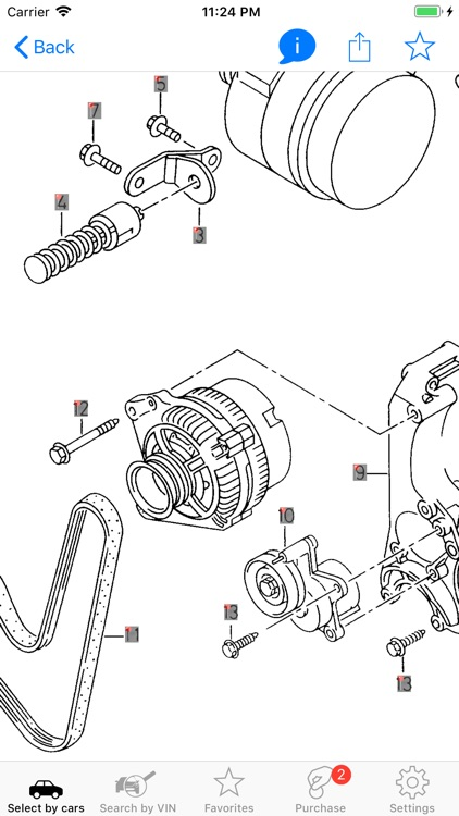 Seat parts and diagrams screenshot-0