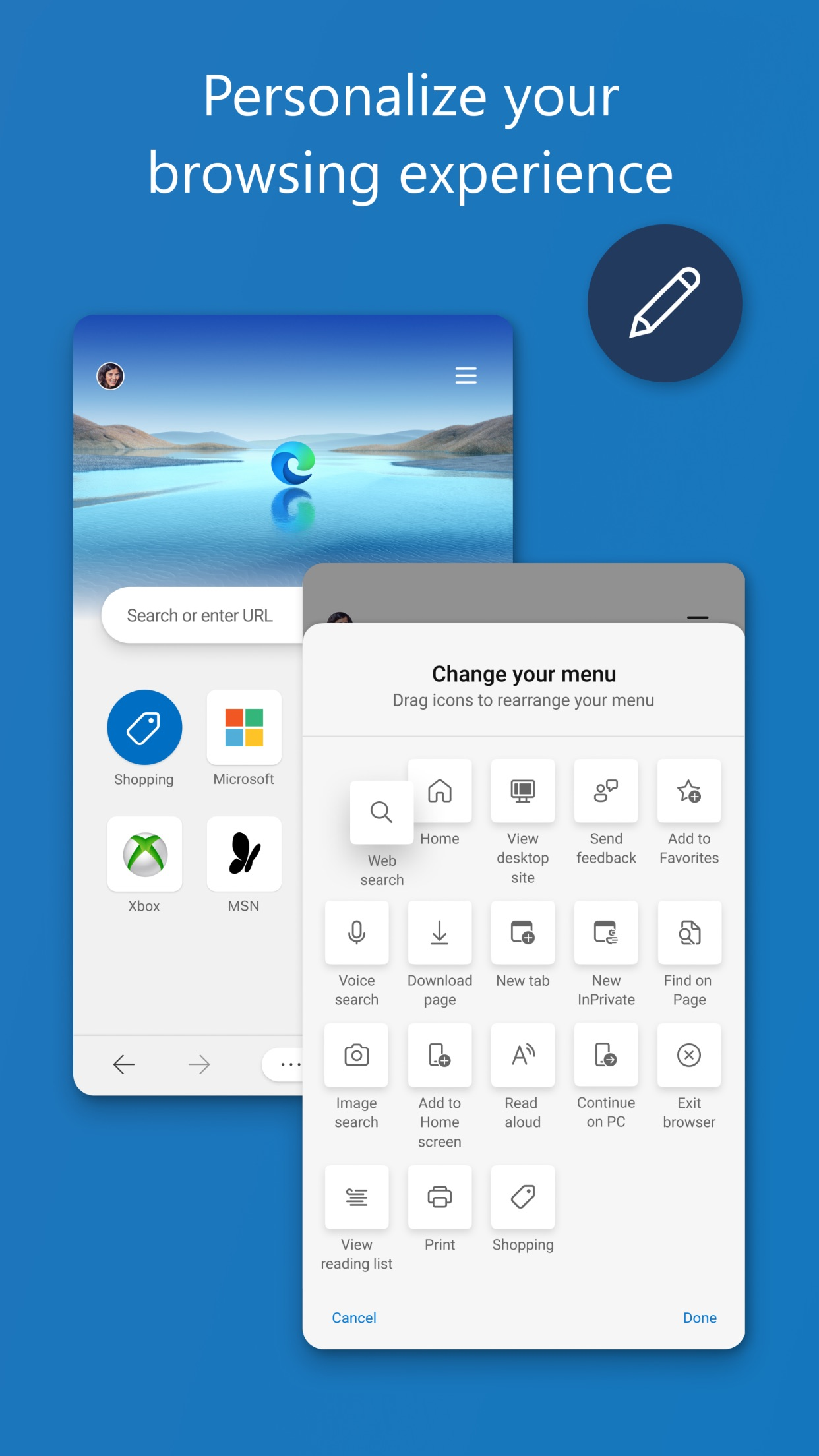 Screenshot do app Microsoft Edge