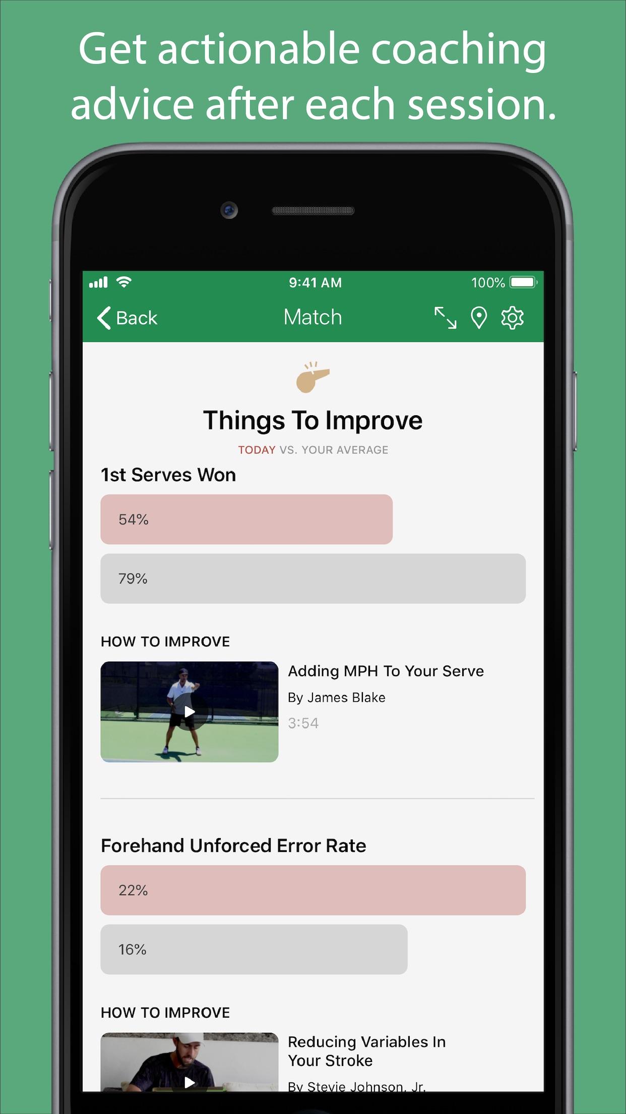 Swing - A.I. Tennis App Screenshot