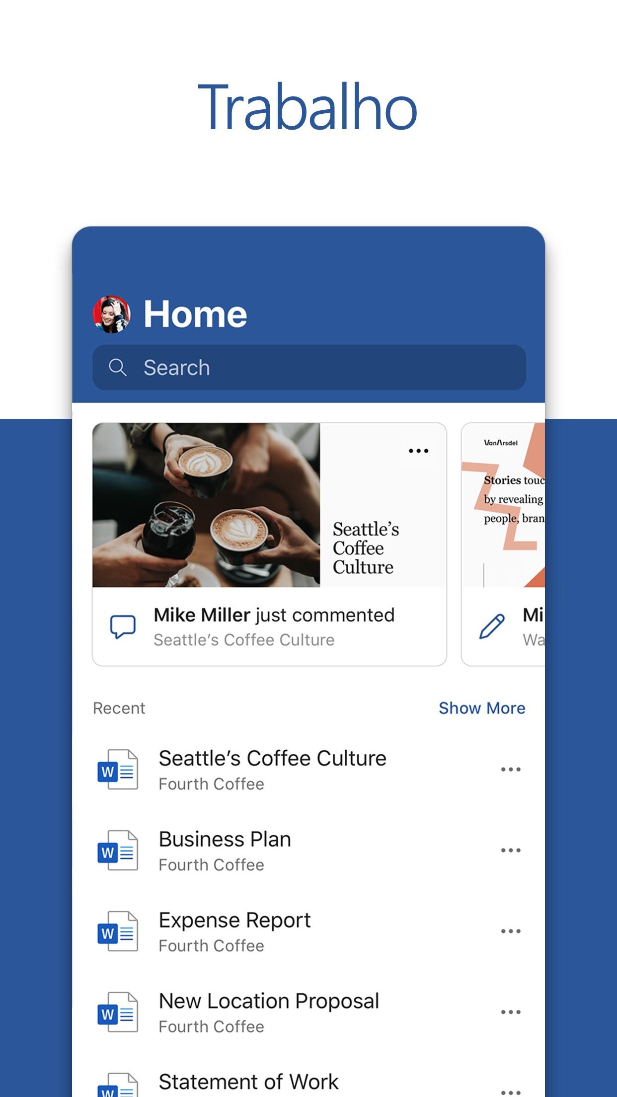 Screenshot do app Microsoft Word