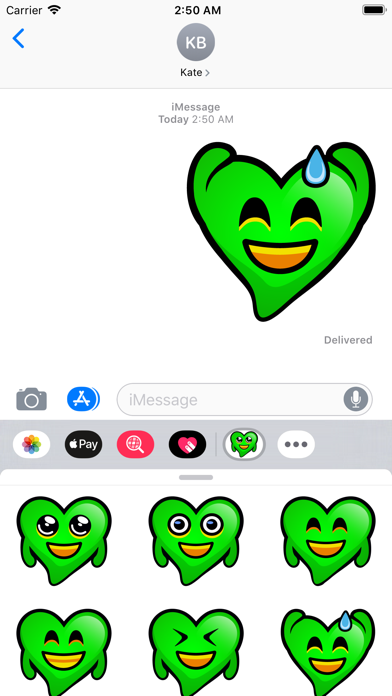 点击获取Green Hearts stickers