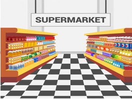 The SupermarketSt is a small sticker, which are show the 50 Supermarket sticker in cartoon