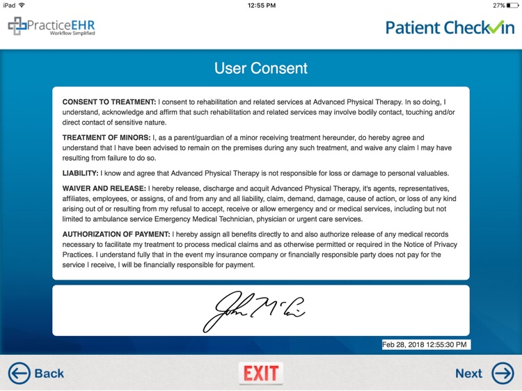 Practice EHR Patient Check-In