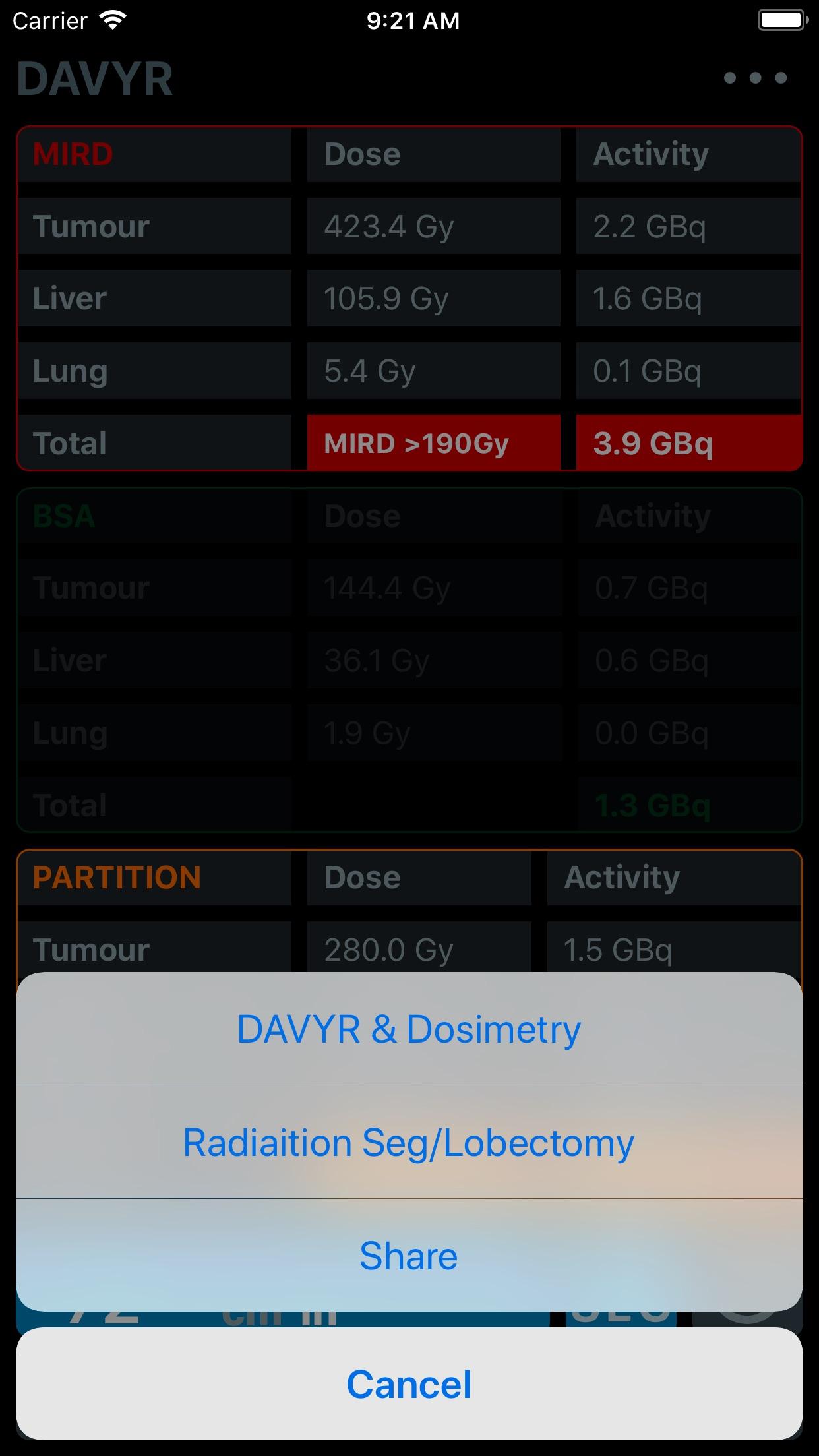 DAVYR 3: Y90 Dosimetry App Screenshot