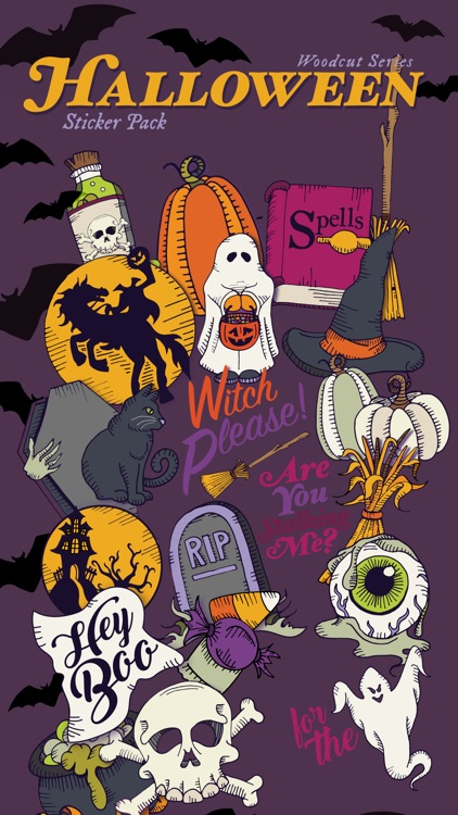 Woodcut Halloween Stickers
