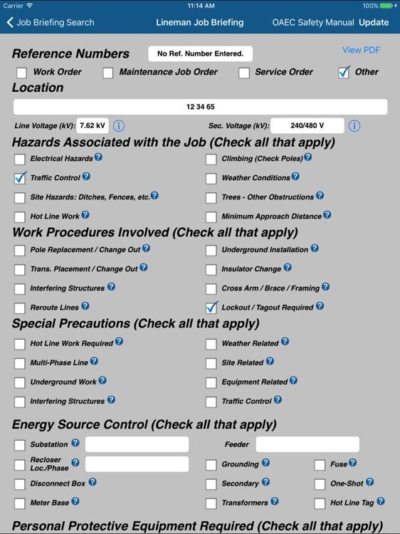 Oklahoma Lineman Job Briefing