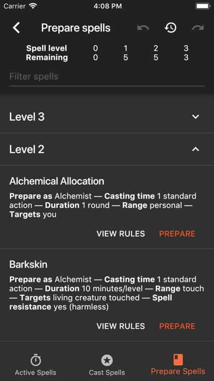 Spell Tracker for Pathfinder