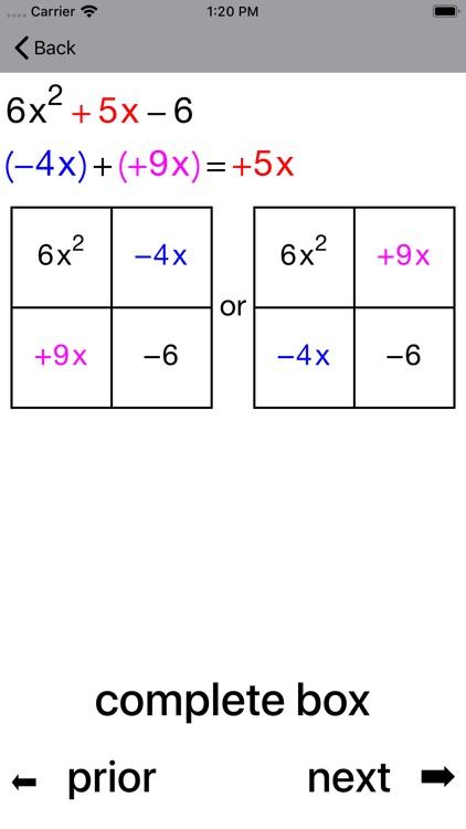 Quadratic Factoring screenshot-4