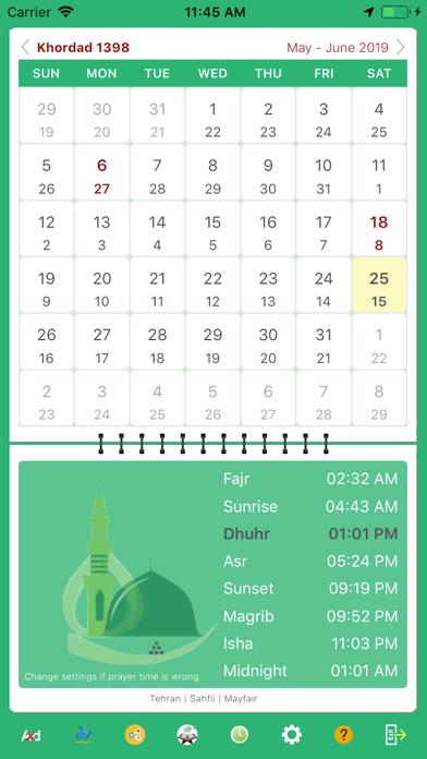 Persian Iranian Calendar screenshot one