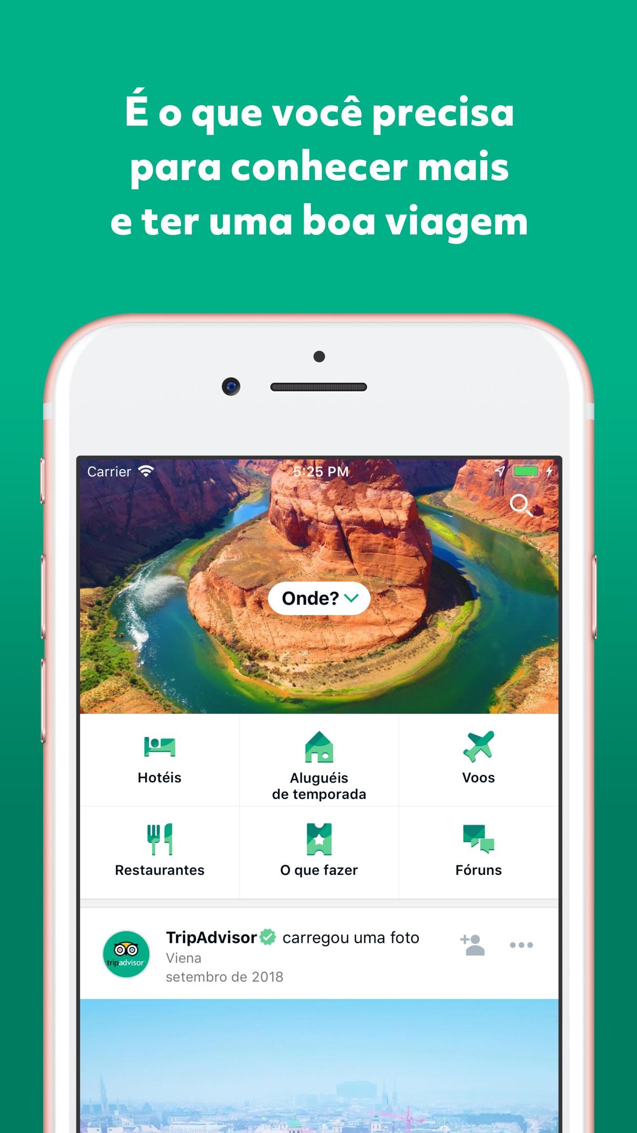 Screenshot do app TripAdvisor: hotéis, voos