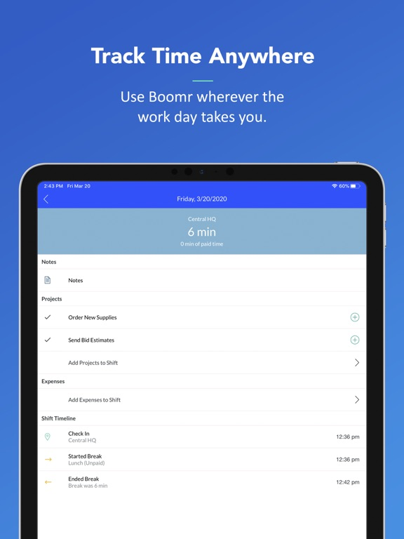 Boomr - Employee Time Tracking and Mobile Time Clock screenshot