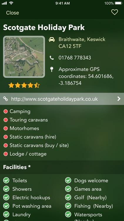 Campsites and caravan parks UK