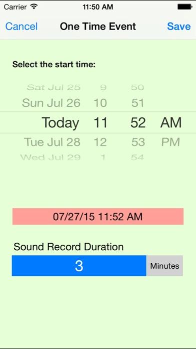 Sound Record Event Screenshots
