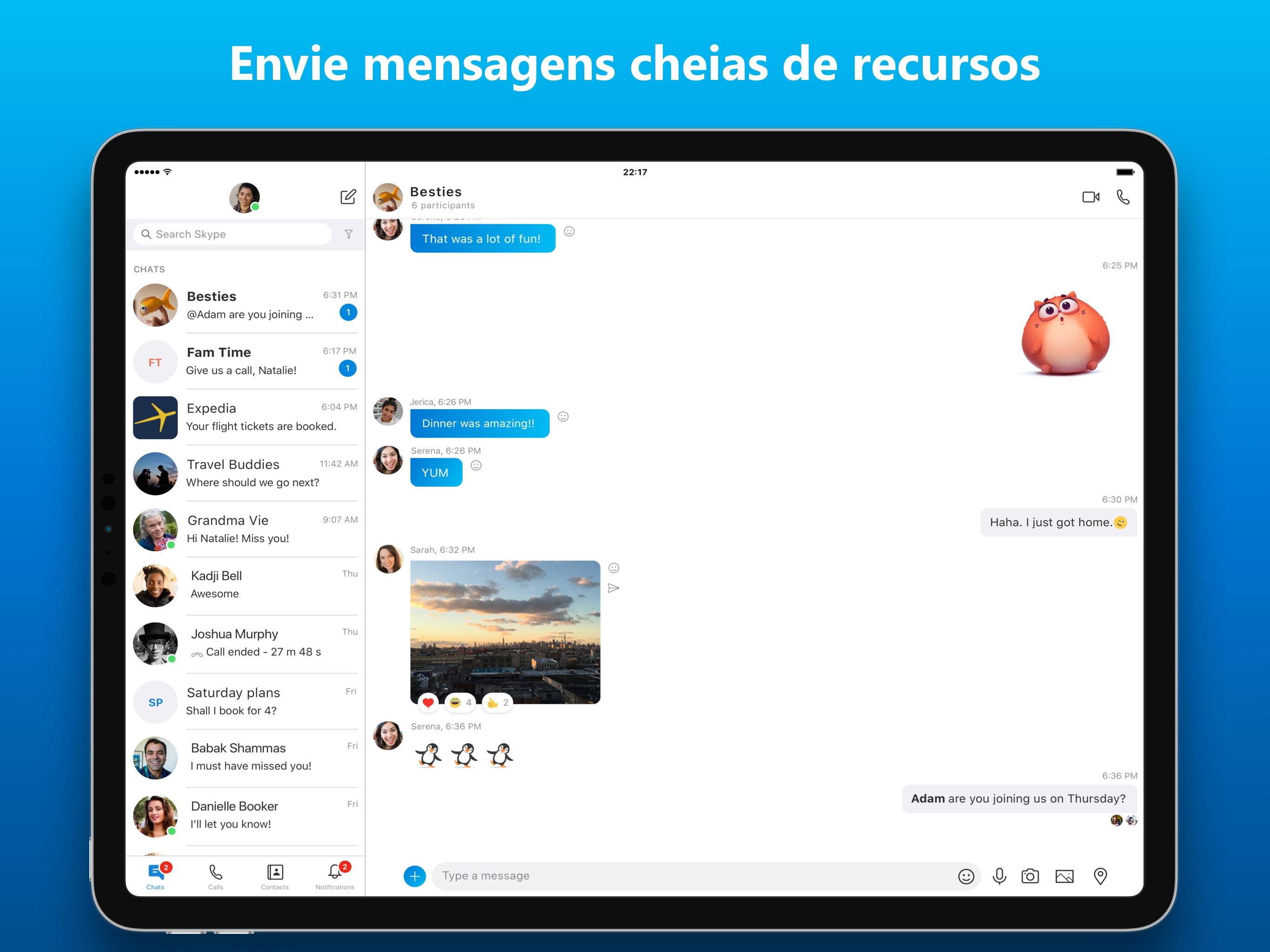 Screenshot do app Skype para iPad