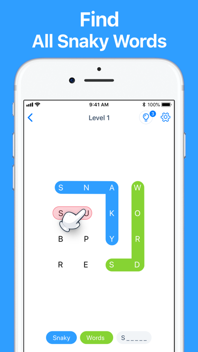 Snaky Words - Word Search Game screenshot 1