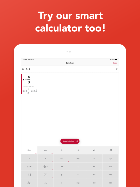 Photomath - Camera Calculator screenshot