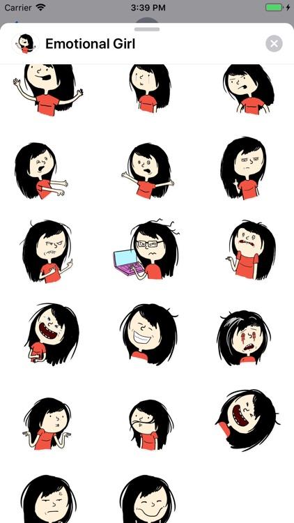 Emotional Girl Sticker Pack