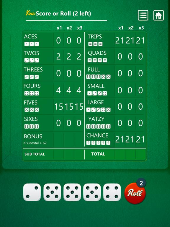 Ipad Screen Shot Yatzy Dice Game 2