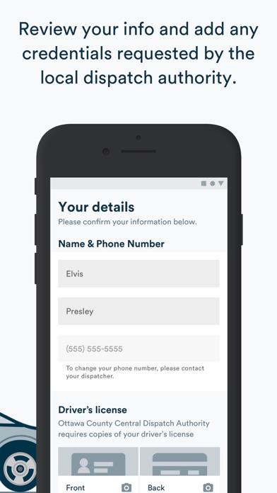 Screenshot of Curbside SOS App