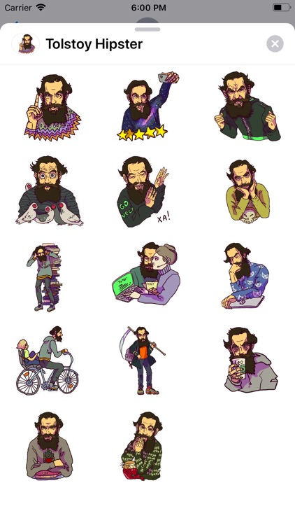 Tolstoy Hipster Sticker Pack