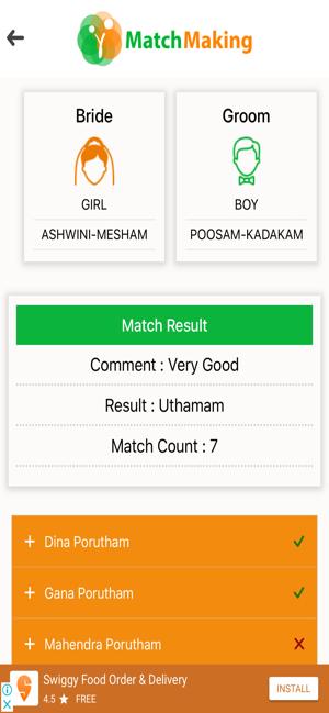 Porutham vedic match