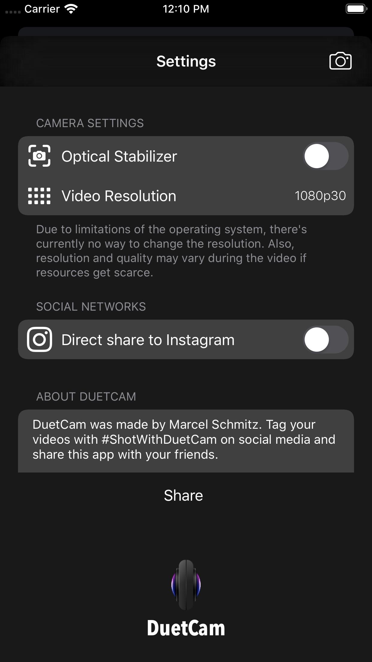 Screenshot do app DuetCam
