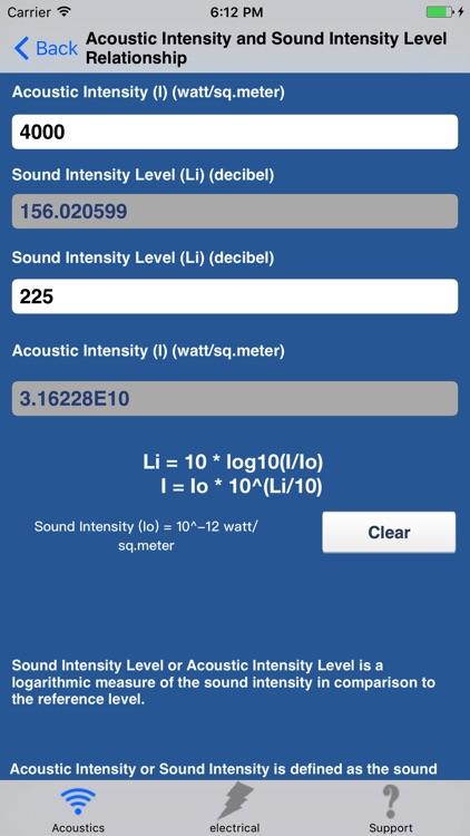 Acoustics Engineering Calc.