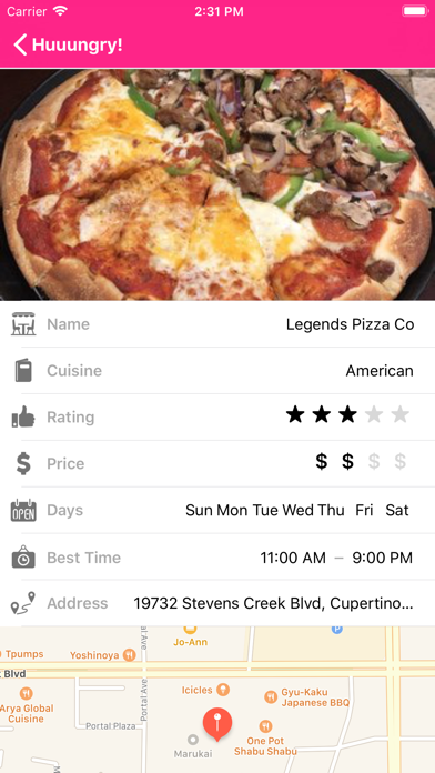Screenshot of Huuungry App