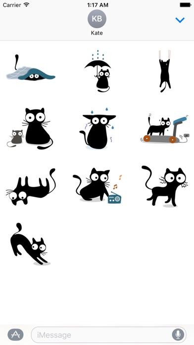 Cute & Weird Black Cat Sticker screenshot 3