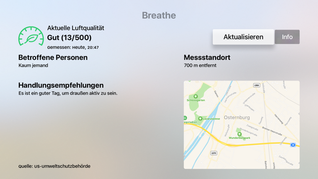 Breathe - Luftqualitätsmonitor Screenshot